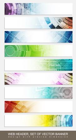 lineas horizontales: Cabeceras Website, banners con el modelo abstracto colorido - establecidos. Vector illsutration. Vectores