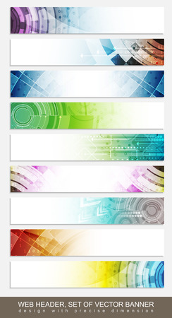 technology banner: Website headers, banners with colorful abstract pattern - set. Vector illsutration. Illustration