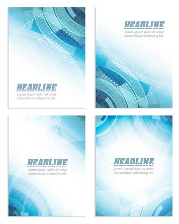 플라이어 또는 브로셔 템플릿, 기업 배너, 추상 파란색 기술 디자인, 벡터 일러스트 레이 션의 설정
