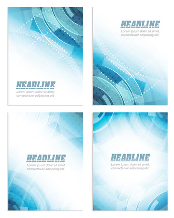 Set of flyer or brochure template, corporate banner, abstract blue technology design, vector illustration Vectores