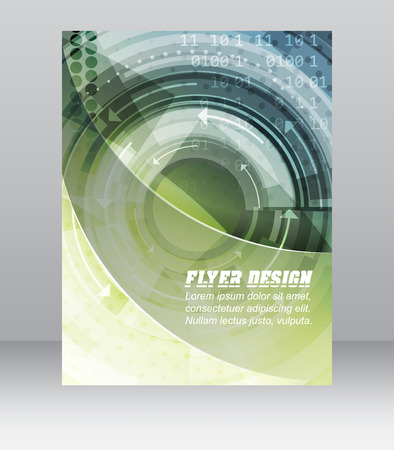 cataloged: Abstract business flyer template with technological pattern, magazine, cover design or corporate banner. Can be used for print, presentation or publishing. Vector illustration.