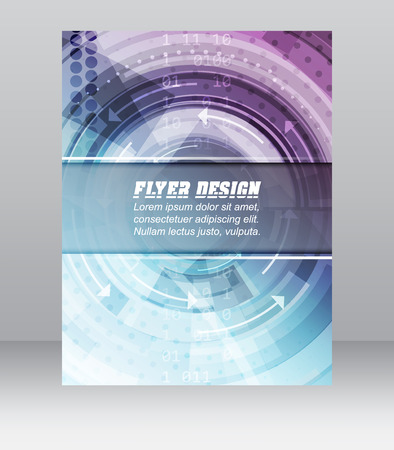cataloged: Abstract business flyer template with technological pattern, magazine, cover design or corporate banner. Can be used for print, presentation or publishing. Illustration
