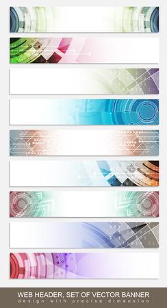 다채로운 추상적 인 패턴 수평 웹 사이트 머리글, 바닥 글 또는 배너 - 설정합니다. 벡터 일러스트 레이 션.