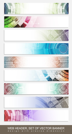 website header: Horizontal website header, footer or banner with colorful abstract pattern - set. Vector illustration.