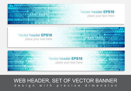 Website header or banner, vector abstract design template with technological pattern.