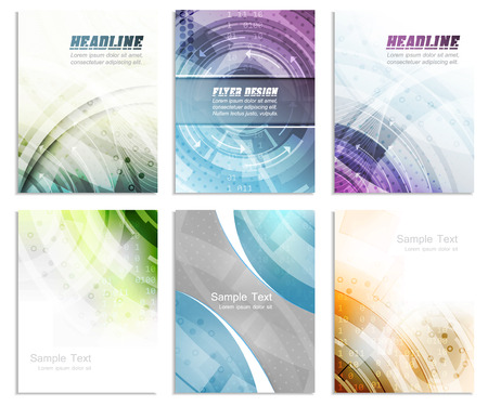 cataloged: Set of abstract flyer template, magazine, brochure, cover design or corporate banner. Editable vector design with space for your content.