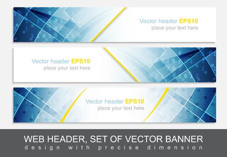 Set of web header, footer or banner. Design for your creative website presentation or project. Vector illustration.