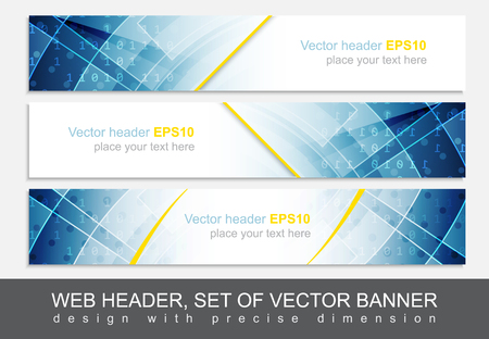 Set of web header, footer or banner. Design for your creative website presentation or project. Vector illustration.