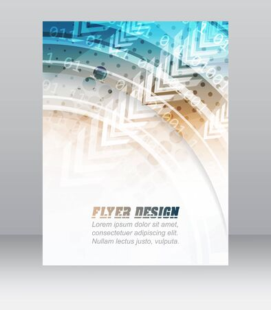 Business flyer template, brochure or corporate banner with abstract technology pattern, vector illustration