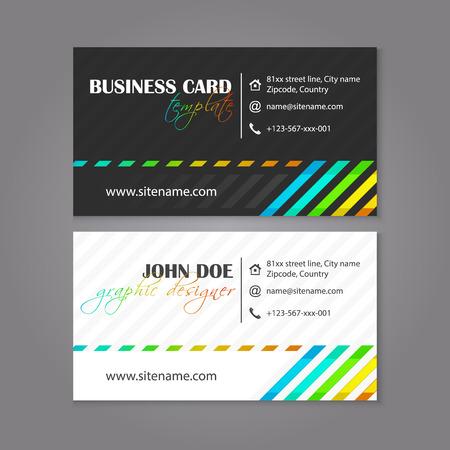 affiliation: Creative simple horizontal business card for designers, editable vector design.