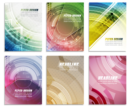 cataloged: Set of abstract business flyer template, folder, brochure, cover design or corporate banner. Editable vector illustration with place for your content or creative editing.