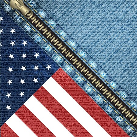 Realistic denim background with USA flag and stitch effect, vector illustration Иллюстрация
