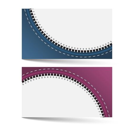 the information card: Horizontal business card template with zip pattern and place for your text, two color options, vector illustration Illustration