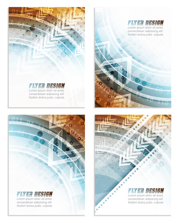 cataloged: Set of abstract business flyer template with technological pattern, corporate banner or cover design. Vector illustration.