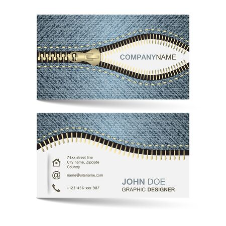 Business card template with denim jeans pattern and zipper for your creative design and individual or company presentation. Vector illustration.