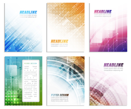 cataloged: Set of abstract flyer template, magazine, brochure, cover design or corporate banner