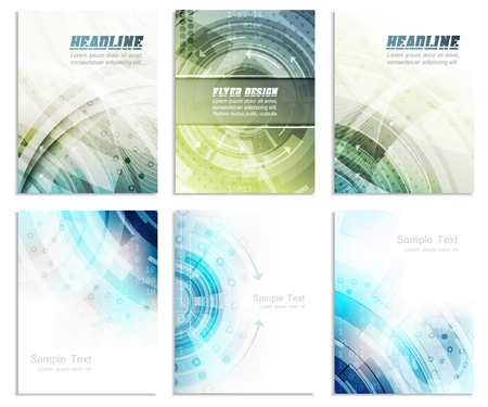 Set of abstract flyer template, magazine, brochure, cover design or corporate banner. Editable vector design with space for your content.