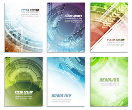 arrow shape: Set of abstract business flyer template, folder, brochure, cover design or corporate banner. Editable vector illustration with place for your content or creative editing.
