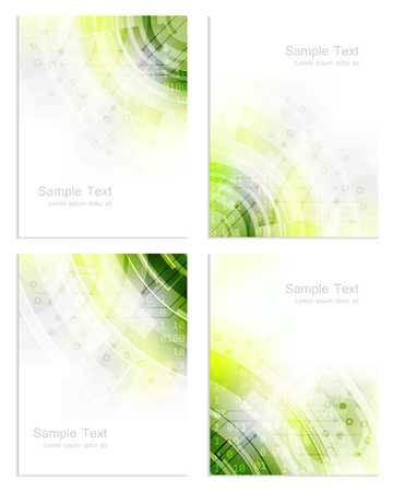 green technology: Set of abstract business flyer template, brochure or cover design, vector illustration