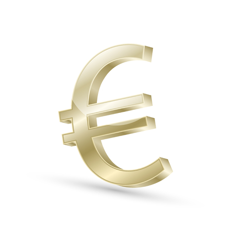 currencies: Euro currency gold symbol icon, 3d vector illustration Illustration