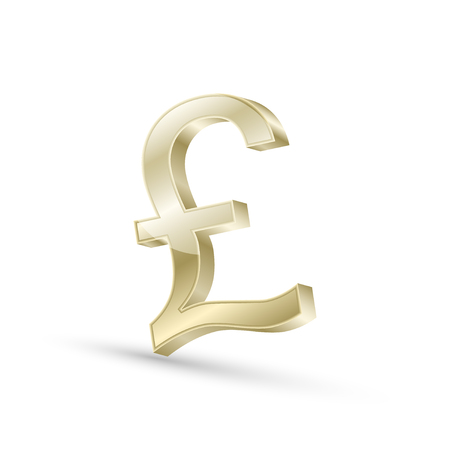 Pound currency gold symbol icon, 3d vector illustration