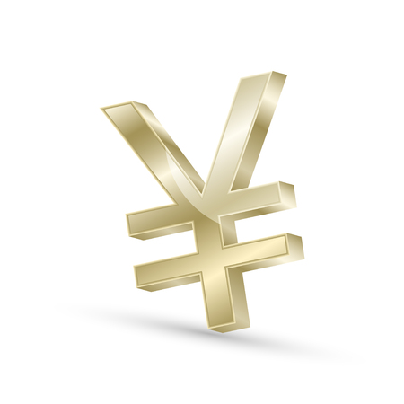 currencies: Japanese yen currency gold symbol icon, 3d vector illustration