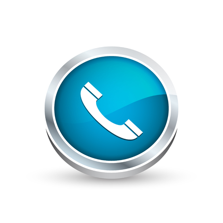 telephone interview: Phone vector icon, button in blue color Illustration