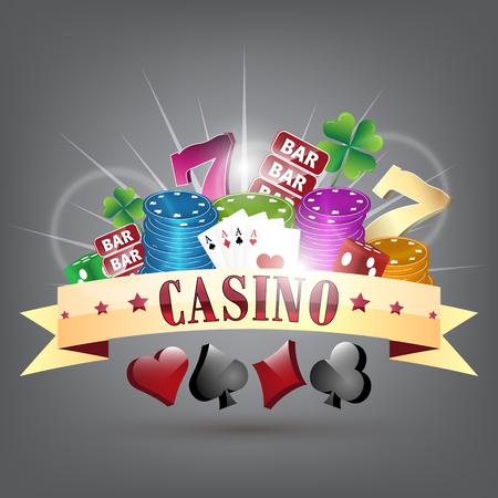 headline: Gold ribbon and gambling elements with casino headline. Vector illustration.