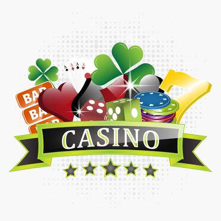 win win: Casino vector illustration with chips, card symbols, playing cards, dice and lucky seven symbol. White background with halftone effect for your creative design.