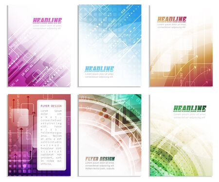 cataloged: Set of business flyer template, brochure or corporate banner with abstract technology pattern, vector illustration for your creative design.