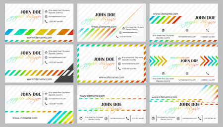 affiliation: Creative business card template vector collection for your companies or individual presentation. Vector illustration. Illustration