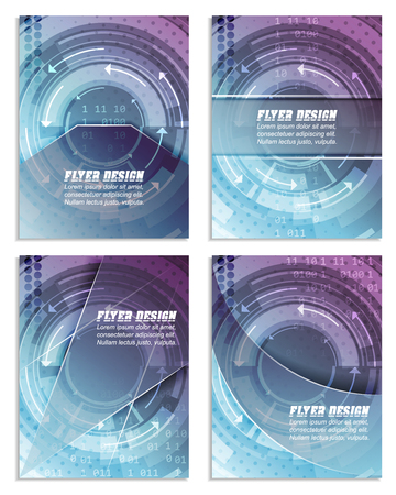 cataloged: Set of abstract business flyer template with technological pattern, magazine, cover design or corporate banner. Can be used for print, presentation or publishing. Vector illustration.