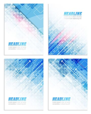 Set of abstract flyer or cover design with technological pattern for your business presentation, print or publishing, vector illustration