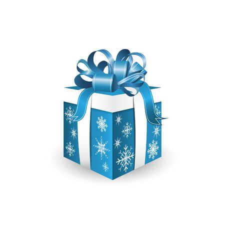 blue bow: Gift box isolated on white background with blue decorative ribbon and snowflakes, vector illustration
