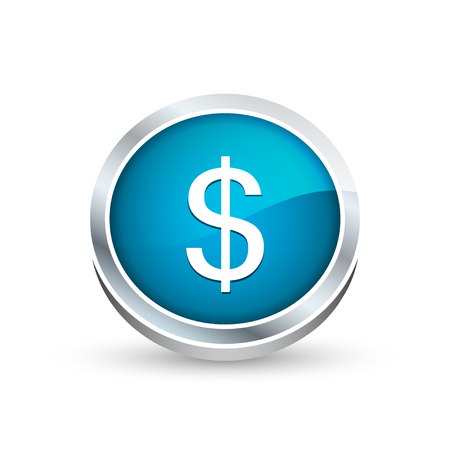 currency symbol: Dollar currency symbol vector icon, button in blue