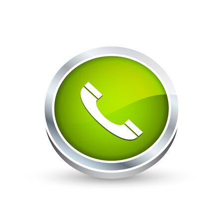 telephone interview: Phone vector icon, button in green color