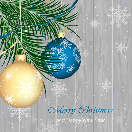 pine needles: Merry Christmas and Happy New Year vector background. Wooden texture, snow, snowflakes, ribbon, baubles and pine needles.