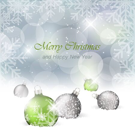 bobble: Christmas card with light effect and a bobble in the snow. Vector greeting card for New Year and Christmas.