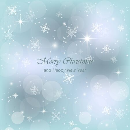 traditionally: Christmas blue greeting card with snow, snowflakes and glow. Vector illustration for your design. Illustration