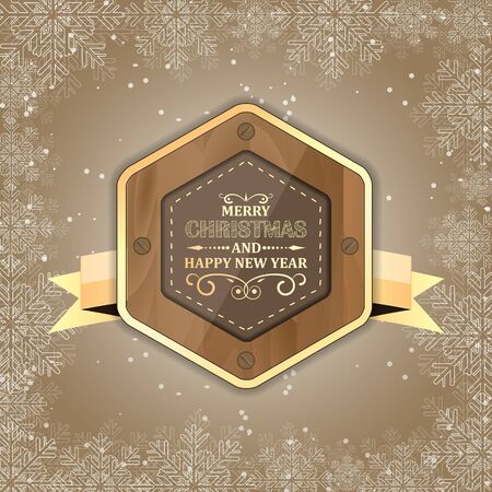 wood backgrounds: Merry Christmas and Happy New Year label with golden ribbon and snowflakes. Vector illustration for your Christmas design.