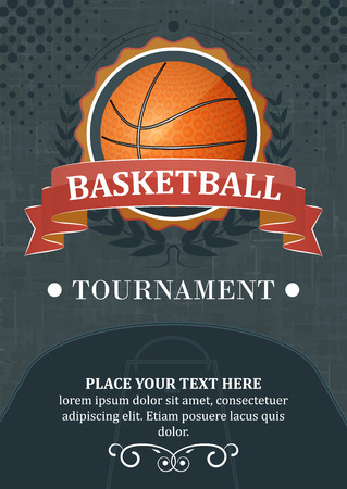 contents: Basketball tournament background or poster. Design with ball, ribbon and laurel wreath.