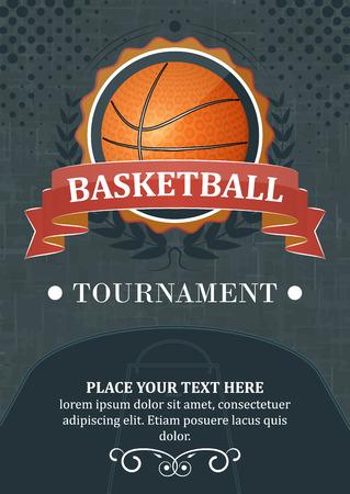 canestro basket: Pallacanestro torneo sfondo o poster. Progettazione con la palla, nastro e corona di alloro. Vettoriali