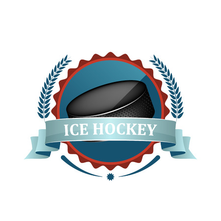 ice hockey puck: Ice hockey sport icon or label with blue ribbon, laurel wreath and puck. Illustration
