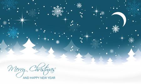 schneeflocke: Weihnachtslandschaft mit B�umen, Mond und Schneeflocken. Illustration