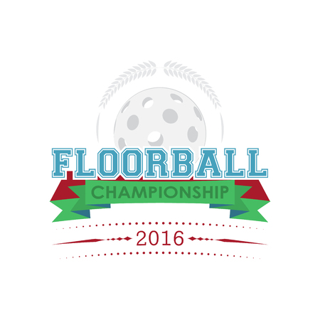 floorball: Floor-ball championship emblem. Design for your sport graphic project. Illustration