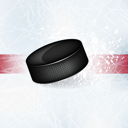 puck: Hockey puck on the ice.