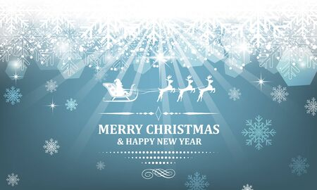 headline: Christmas vector wallpaper with shiny effect, snowflakes and decorative headline.