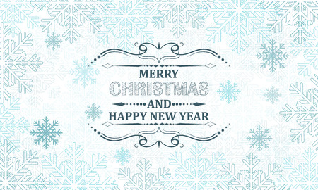 headline: Christmas snowflakes vector background with decorative headline.