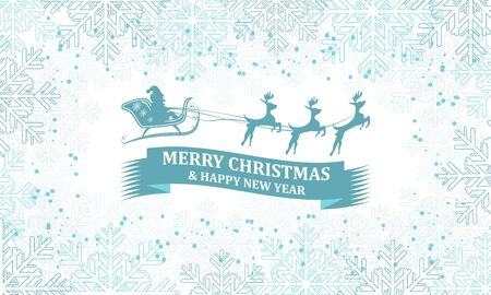 santa sleigh: Christmas greeting card. Santa on sleigh with reindeer and decorative blue ribbon.