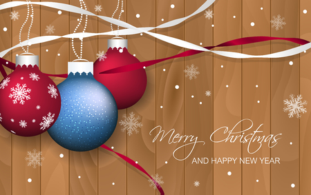 fob: Christmas baubles and ribbons on wooden texture. Vector illustration for your greeting card. Illustration
